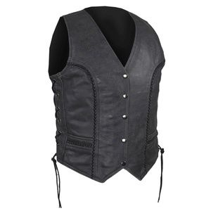Classic Style Leather Vest Gray NWT